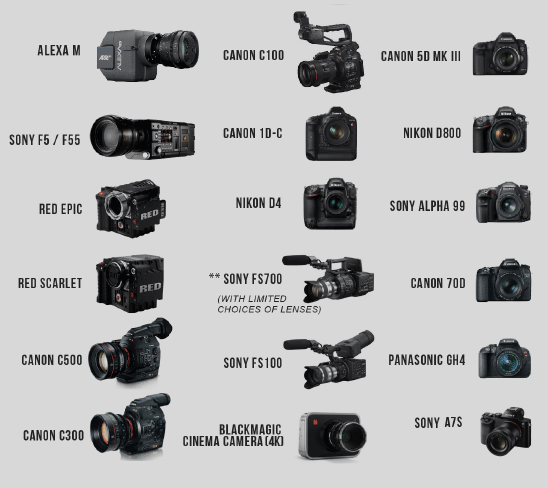 Image of cameras supported by the M15.