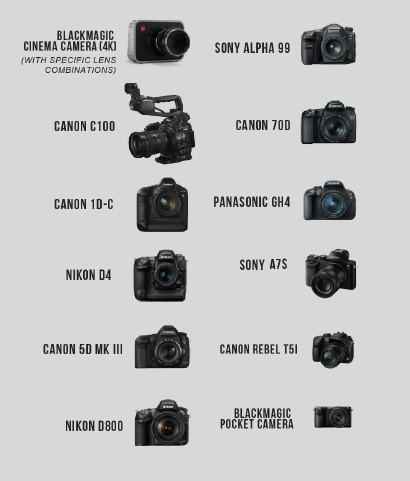 Image of DSLR-sized cameras the M5 supports.