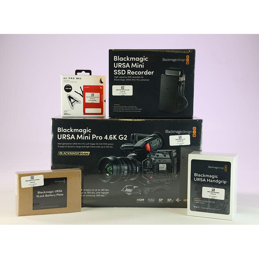 Blackmagic Design Ursa Mini Pro G2 Ursa Mini Handgrip V Lock Battery Plate Mini Ssd Recorder Angelbird Avpro Ssd 500gb Bundle