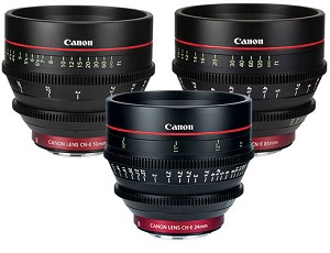 Canon Cinema Lens Package: CN-E24mm, 50mm, & 85mm Lenses