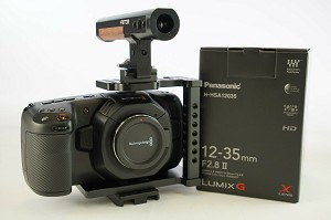 Blackmagic Pocket Cinema Camera 4K + Panasonic 12-35mm Lens + Fantom Camera Cage Bundle