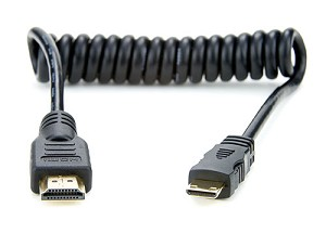 Atomos Coiled Mini HDMI to Full HDMI Cable (30-45cm) - ATOMCAB008