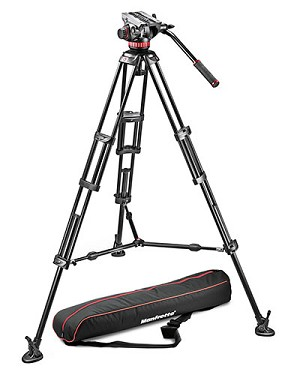 Manfrotto MVH502A,546BK-1 Aluminum Tripod w/ Fluid Head & Mid-Level Spreader