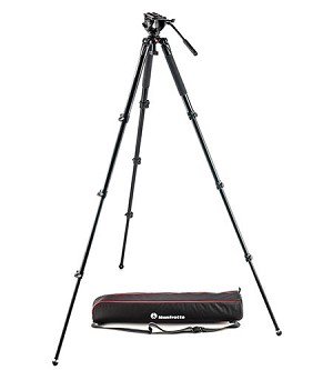 Manfrotto MVH500AH Fluid Head Aluminum Leg Video Tripod - MVK500AQ
